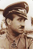 Adolf Galland fought in the great Battles of Poland, France and Britain, leading the famous JG26 Abbeville Boys. He flew in combat against the RAFs best including Douglas Bader, Bob Stanford Tuck and Johnnie Johnson. In 1941, at the age of 29, he was promoted to Inspector of the Fighter Arm. In 1942 Hitler personally selected Galland to organise the fighter escort for the Channel Dash. He became the youngest General in the German High Command but open disagreements with Goering led to his dismissal at the end of 1944. He reverted to combat flying, forming the famous JV44 wing flying the Me262 jet fighter, and was the only General in history to lead a squadron into battle. With 104 victories, all in the West, Adolf Galland received the Knights Cross with Oak Leaves, Swords and Diamonds. Born 19th March 1912, died 9th February 1996. Born in 1911, Adolf Galland learned to fly at a state-sponsored flying club in the early 1930s. In 1933 he was selected to go to Italy for secret pilot training. Galland flew for a brief time as a commercial airline pilot prior to joining the clandestine Luftwaffe as a Second Lieutenant. In April of 1935 he was assigned to JG-2, the Richtofen Fighter Wing, and in 1937 he joined the ranks of the Condor Legion flying the He-51 biplane fighter in support of General Franco during the Spanish Civil War. Despite flying 280 missions, Galland attained no aerial victories, a rather inauspicious start for a pilot would go on to attain more than 100 aerial victories - the highest for any pilot who flew on the Western Front. During Germanys invasion of Poland, Galland was assigned to an attack squadron and he flew over fifty ground sorties. He was promoted to Captain for his efforts, but Galland was anxious to return to a fighter squadron, and he got his wish in October of 1939 when he was transferred to JG-27. It was with JG-27 that Galland first learned to fly the Bf-109. In May of 1940 JG-27 flew in support of the invasion of Belgium, and Galland achieved his first combat victory on May 12. Two months later his score had risen to more than a dozen, and at this time he was once again transferred to JG-26 situated on the Channel Coast. Engaging the RAF on a daily basis during the Battle of Britain, Gallands score rose steadily until it exceeded 40 victories by September. After a short leave Galland rejoined JG-26 in Brittany, where the squadron played a defensive role. Following Germanys invasion of Russia in June of 1941, JG-26 became one of only two German fighter squadrons left on the Channel Coast. This resulted in plenty of flying, and by late in 1941 Gallands victory totals had reached 70. Following a near brush with death when the fuel tank of his 109 exploded, Galland was grounded for a time, and sent to Berlin where he was made the General of the Fighter Arm, reporting directly to Goring and Hitler. Galland spent most of the next few years carrying out inspection tours, and was at odds with his superiors about the need for an adequate fighter defense to negate ever-increasing Allied bombing of Germanys cities. He continued to fly combat missions when the opportunity presented itself, despite Gorings orders to the contrary. In January of 1945 almost 300 fighters were lost in an all-out attack on Allied airfields in France, a mission Galland did not support. He was dismissed as General of the Fighter Arm for his insubordination, but reflecting his flying abilities Hitler ordered Galland to organize JV-44, Germanys first jet-equipped fighter squadron. By March of 1945 Galland had recruited 45 of Germanys best surviving fighter pilots, and this new squadron was given the difficult task of trying to counter the daily onslaught of 15th Air Force bombers coming at Germany from the South. Gallands final mission of the War occurred on April 26 when he attained his 102nd and 103rd confirmed aerial victories prior to crash landing his damaged Me262. Several days later the War was over for both Galland and Germany. General Galland died in 1996