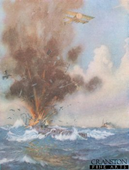 Squadron Commander A W Bigsworth Attacks with Bombs a German Submarine, Which Fills and Sinks off Ostend by M G Swanwick (P)