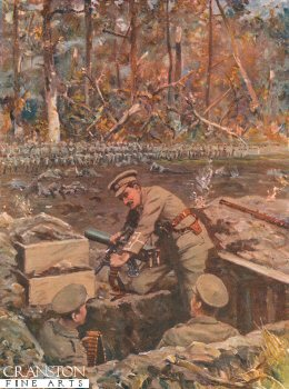 Lieut. Dimmer Repairing a Machine-Gun While Exposed to the Fire of the Advancing Prussian Guard by Allan Stewart (P)