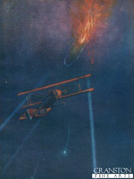 Lieutenant W L Robinson Attacks an Enemy Airship and Brings it Down in Flames by W Avis (P)