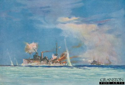 HMS Sydney commanded by Captain J C T Glossop, Attacking the German Cruiser Emden by Maurice Randall (P)