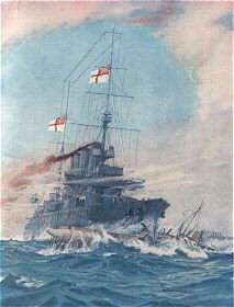 HMS Birmingham Commanded by Captain Arthur Duff, Ramming the German Submarine U15 on August 9th 1914 by M G Swanwick (P)