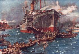 Landing troops From the River Clyde at V Beach Gallipoli Peninsula by Charles Dixon RA (B)