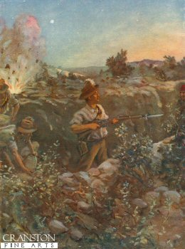 Second Lieutenant Throssell Holding Part of a Captured Turkish Trench Against the Enemys Counter-Attacks by Allan Stewart. (P)