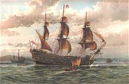 Battle Ship About 1650 by W Fred Mitchell (P)