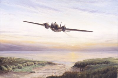 AS0003C. Dawn Return by Anthony Saunders. <p> A Wellington returns low over the calm, dawn water of the North Sea, vainly struggling to maintain both height and speed. <b><p> Signed by Sqd Ldr Larry Lewis DFC DFM (deceased). <p> Lewis signature edition of 30 prints (Nos 1 - 30) from the signed limited edition of 50 prints. <p> Image size 12 inches x 8 inches (31cm x 20cm)