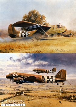 Rare Pair of D-Day prints by Robert Taylor - Into Battle by Robert Taylor  and Crash Landing by Robert Taylor.