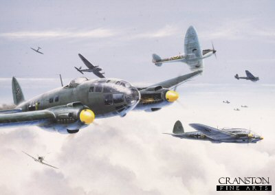 B0094PC. Close Encounter by Ivan Berryman. <p> Supermarine Spitfire Mk.1As of No.610 (County of Chester) Sqn RAAF, intercept incoming Heinkel 111H-16s of the 9th Staffel, Kampfgeschwader 53 Legion Condor during the big daylight raids on London of August and September 1940 - the climax of the Battle of Britain.  Spitfire N3029 (DW-K) was shot down by a Bf109 on the 5th of September 1940 and crash-landed near Gravesend, Kent, thankfully without injury to Sgt Willcocks, the pilot.  For the record, N3029 was rebuilt and, following some brief flying in the UK, was sent overseas by convoy to the Middle East.  Ironically, the ship carrying this aircraft was torpedoed en route and both ship and all its cargo were lost. <b><p>Collector&#39;s Postcard - Restricted Initial Print Run of 100 cards.<p>Postcard size 6 inches x 4 inches (15cm x 10cm)