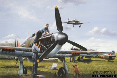 B0099PC. Ground Force by Ivan Berryman. <p> Routine, though essential, maintenance is carried out on a 501 Sqn Hurricane at the height of the Battle of Britain during the Summer of 1940.  Hurricane P3059 <i>SD-N</i> in the background is the aircraft of Group Captain Byron Duckenfield. <b><p>Collector&#39;s Postcard - Restricted Initial Print Run of 100 cards.<p>Postcard size 6 inches x 4 inches (15cm x 10cm)
