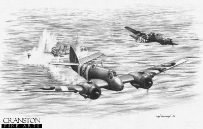 B0289. Beaufighter Attack by Ivan Berryman. <p> A pair of Beaufighters attacking Axis shipping in the North Sea.  Without doubt one of the most outstanding and versatile aircraft in the Allied inventory during World War II, the Bristol Beaufighter was to endure a cautious reception by its crews when it first entered service, not least due to difficulties experienced by crews attempting to abandon a stricken aircraft in an emergency. Its performance and hard-hitting potential quickly overcame such doubts, however, and it went on to earn a commendable reputation - and the nickname Whispering Death. <b><p>Signed by Flight Lieutenant Terry Clark<p>Signed limited edition of 35 prints.  <p> Image size 12 inches x 9 inches (31cm x 23cm)