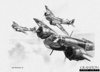 Mk.I Blenheims of No.141 Sqn by Ivan Berryman.
