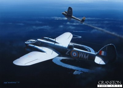 B0295. Blenheim Mk.IVF of No.68 Sqn by Ivan Berryman. <p> Bristol Blenheim Mk.IVF of No.68 Squadron. The night-fighter squadron flew Blenheims from mid1941 to early 1942 before converting to Beaufighters. Aircraft WM-Z is shown in combat with a marauding Dornier Do17. <b><p>Signed by Wing Commander Roger Morewood (deceased)<p>Signed limited edition of 35 prints. <p> Image size 12 inches x 9 inches (31cm x 23cm)