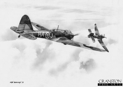 B0296. Fairey Battle, 218 Squadron by Ivan Berryman. <p> A Fairey Battle of No.218 Squadron gets on the tail of a Ju-87 Stuka over France in 1940.  An aircraft carrying the codes HA-J was shot down by flak on the afternoon of 12th May 1940.  The three crew of aircraft K9353, J B Horner, L C Flisher and L D Davies were all lost. <b><p>Signed by Eric Winkle Brown (deceased). <p>Signed limited edition of 35 prints.  <p> Image size 12 inches x 9 inches (31cm x 23cm)
