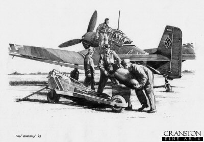 Bombing Up - Stuka of Hans Rudel by Ivan Berryman.