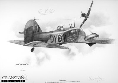 B0298. Avro Anson by Ivan Berryman. <p> An Avro Anson comes under attack from an Me109. <p><b>Warrant Officer Dennis Slack signed this print, unusually, in the sky area above the aircraft, as can be seen in the image.  For this reason,we are selling this print at half the usual price.</b><b><p>Signed by Warrant Officer Dennis Slack and Pilot Officer Tom Wilson. <p>Signed limited edition of 35 prints.  <p> Image size 12 inches x 9 inches (31cm x 23cm)