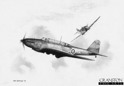 B0301. Fairey Battle Mk.I by Ivan Berryman. <p> Fairey Battle HA-J of No.218 Sqn is taken by surprise by the close pass of a Bf109E over France.  The squadron were based at Auberive-sur-Suippes in 1939, and as part of the Advance Air Striking Force of the RAF during the Battle of France, suffered heavy losses.  An aircraft carrying the codes HA-J was shot down by flak on the afternoon of 12th May 1940.  The three crew of aircraft K9353, J B Horner, L C Flisher and L D Davies were all lost.<b><p>Signed by Warrant Officer Tom Cosby and Warrant Officer Eric Evans. <p>Signed limited edition of 35 prints.  <p> Image size 12 inches x 9 inches (31cm x 23cm)
