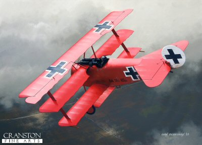 B0311. The Rittmeister by Ivan Berryman. <p> The greatest ace of WW1, Manfred von Richthofen, the Red Baron is depicted here flying Fokker Dr.1, serial No 425/17, in its final guise following the introduction of the Balkenkreuze. This was the only Triplane flown by the Rittmeister that was painted all red and was also the aircraft in which he lost his life on 21st April 1918, the celebrated ace having scored a confirmed 80 victories against allied aircraft over France. <b><p>  Signed limited edition of 30 prints.<p> Size 12 inches x 8 inches (31cm x 21cm)