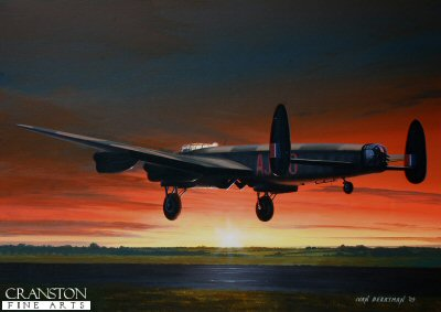B0315. O Safe Home by Ivan Berryman. <p> Bill Townsends Lancaster O for Orange, returns safely on the morning of 17th May 1943 after the success of the daring raids on the dams of the Ruhr Valley. <b><p>Signed limited edition of 1150 prints. <p> Image size 12 inches x 9 inches (31cm x 23cm)