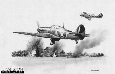B0355. Tribute to F/Lt Owen Tracey by Ivan Berryman. <p> 79 Sqn Hurricane of F/Lt Owen Tracey trying to get airborne again amid explosions from the attacking German Dorniers on 15th August 1940. <b><p>Signed by Group Captain Byron Duckenfield AFC (deceased)<br>and<br>Flight Lieutenant Alex Thom DFC. <p>Limited edition of 30 giclee art prints.  <p> Image size 12 inches x 8 inches (31cm x 21cm)