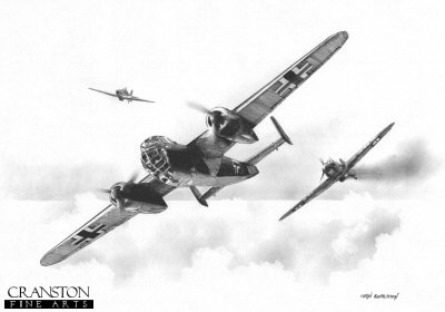 B0358. Revenge of the Raider by Ivan Berryman. <p> The 79 Sqn Hurricane of P/O E J Morris receiving hits from a Dornier 17 on 31st August 1940. Morris was forced to crash land his aircraft and was slightly wounded following the combat. <b><p>Signed by :<br>Group Captain Byron Duckenfield AFC (deceased). <p>Signed limited edition of 30 giclee art prints. <p> Image size 12 inches x 8 inches (31cm x 21cm)