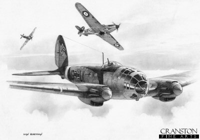 B0359. One on the Run by Ivan Berryman. <p> A pair of 79 Sqn Hurricanes attacking a Heinkel 111 on 15th August 1940.  The nearest Hurricane is that of F/Lt Owen Tracey, who eventually destroyed the He.111 that was on its way to bomb Newcastle. <b><p>Signed by Group Captain Byron Duckenfield AFC (deceased)<br>and<br>Flight Lieutenant Alex Thom DFC. <p>Limited edition of 30 giclee art prints.  <p> Image size 12 inches x 8 inches (31cm x 21cm)
