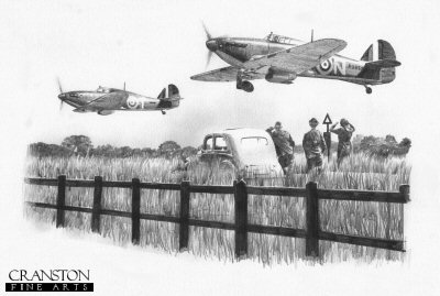 B0364. 501 Sqn Scramble by Ivan Berryman. <p> Byron Duckenfield and his 501 Squadron wingman struggle to get airborne in their Hurricanes as the spectacle of the scrambling squadron draws a group of passing motorists out of their vehicle to witness the thunderous noise of the aircraft. <b><p>Signed by Group Captain Byron Duckenfield AFC (deceased). <p>Limited edition of 30 giclee art prints.  <p> Image size 12 inches x 8 inches (31cm x 21cm)