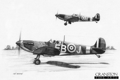 B0366. 41 Sqn Scramble by Ivan Berryman. <p> The Spitfire (EB-J, X4559) of Maurice Peter Brown takes to the air with his wingman. <b><p>Signed by Squadron Leader Maurice P Brown (deceased). <p>Limited edition of 30 giclee art prints.  <p> Image size 12 inches x 8 inches (31cm x 21cm)