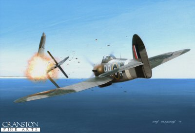 B0370. Hard Hitter by Ivan Berryman. <p> Whilst in command of 609 Sqn in January 1944, F/Lt (later Wing Commander) J R Baldwin, leading a small formation of Hawker Typhoon 1Bs, encountered thirty Focke-Wulf  Fw190s and engaged them in a furious battle.  Nine enemy aircraft were shot down in the action, Baldwin accounting for two of them himself.  He went on to finish the war as the highest-scoring Typhoon pilot of all with 15 confirmed victories, one shared, one probable and four damaged. He is depicted here, flying  DN360 with the codes PR-A. <b><p>Signed limited edition of 1150 prints.  <p> Image size 12 inches x 8 inches (31cm x 21cm)