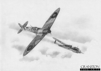 B0374. Dorniers Demise by Ivan Berryman. <p> Maurice <i>Peter</i> Brown damages a Dornier Do.17 in his 41 Squadron Spitfire on 30th September 1940. <b><p>Signed by Squadron Leader Maurice P Brown (deceased). <p>Limited edition of 30 giclee art prints.  <p> Image size 12 inches x 8 inches (31cm x 21cm)
