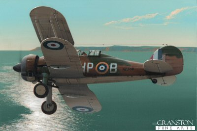B0377PC. Lone Gladiator by Ivan Berryman. <p>A Gloster Gladiator MkII of 247 Sqn is depicted patrolling off the Cornish coast in August 1940 during which time this squadron became the only one to operate the Gladiator in the defence of the South of England during the Battle of Britain. <b><p>Collector&#39;s Postcard - Restricted Initial Print Run of 100 cards.<p>Postcard size 6 inches x 4 inches (15cm x 10cm)