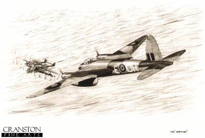 B0390. The Mosquito&#39;s Sting by Ivan Berryman. <p> Banff Mosquito <i>H</i> of 404 Squadron flown on its first operational mission by Flying Officer A Catrano and Flight Lieutenant A E Foord spots a German Blohm and Voss Bv138 anchored off Kjevik.  They attacked the Bv138 which blew up before going on to attack a Heinkel He115 floatplane which was in the vicinity.  This drawing shows the Mosquito beginning its attack on the Bv138. <b><p>Signed by Flying Officer Harold Corbin CGM<br>and<br>Flying Officer Maurice Webb DFM. <p>Limited edition of 30 giclee art prints.  <p> Image size 12 inches x 8 inches (31cm x 21cm)