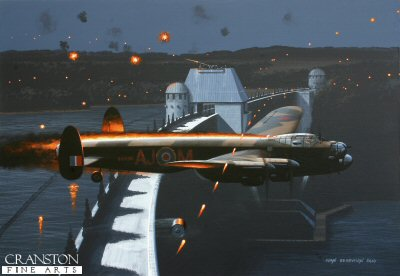 B0417. No Way Back by Ivan Berryman. <p> Despite crippling damage to their Lancaster ED925 (G), the crew of AJ-M continued to press home their attack on the Mohne Dam on the night of 16th/17th May 1943. With both port engines ablaze, Flt Lt J V Hopgood forced his blazing aircraft on, releasing the Upkeep bomb just precious seconds too late to strike the dam, the mine instead bouncing over the wall and onto the power station below with devastating results. ED925 attempted to recover from the maelstrom, but the fuel fire was too intense and the aircraft was tragically lost, just two of her crew managing to escape the impact to spend the rest of the war as PoWs. <b><p>Signed limited edition to 1150 prints.  <p> Size 11.5 inches x 9 inches (30cm x 23cm)