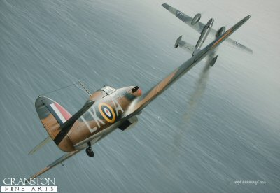 B0446. Tribute to Flt Lt Ian R Gleed by Ivan Berryman. <p> Flight Lieutenant Ian <i>Widge</i> Gleed is depicted in his personal Hurricane 1 P2798 (LK-A) of 87 Sqn shooting down a Messerschmitt Bf.110 on 15th August 1940.  Just visible beneath the cockpit of the Hurricane is his mascot, Figaro, shown kicking a swastika.  His aircraft was also easily identifiable by the red flash on its nose, a feature that was retained even when P2798 was painted all black for its night fighter role. Gleed scored many victories before being shot down and killed whilst flying a Spitfire Vc in the Western Desert in April 1943. <b><p>Signed by Air Commodore John Ellacombe CB DFC* (deceased)<br>and<br>Flt Lt Leonard Davies. <p>Limited edition of 30 giclee art prints.  <p> Image size 16 inches x 11 inches (41cm x 28cm)