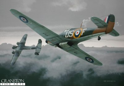 B0447AP. Tribute to Fl Off Tom Neil by Ivan Berryman. <p> Flying Officer Tom Neil closes on a Dornier Do.17 on 15th September 1940, just one of four victories confirmed on that day, the others being two Bf.109s and another Dornier shared.  He is depicted flying Hurricane Mk1 V7313 of 249 Sqn whilst based at North Weald. <b><p>Signed by Wing Commander Tom Neil DFC* AFC. <p>Limited edition of 20 artist proofs.  <p> Image size 16 inches x 11 inches (41cm x 28cm)