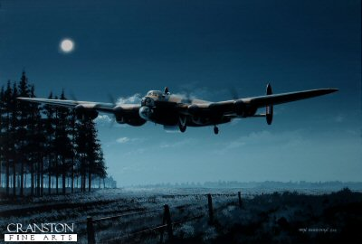 B0469. Undetected by Ivan Berryman. <p> En route to the Ruhr Dams on the night of 16/17 May 1943, P/O W C Townsend, demonstrating great skill, flew his aircraft, ED886(G) &#39;O&#39;- Orange below tree-top height through a forest firetrap on his way to the Ennepe Dam, a feat carried out by moonlight alone.  AJ-O made it successfully to its target where the Upkeep bomb was observed to hit the dam, but with no effect, before returning safely to base the following morning. <b><p>Signed by Squadron Leader George L. Johnson DFM.<p>Limited edition of 30 giclee art prints.  <p> Image size 16 inches x 11 inches (41cm x 28cm)
