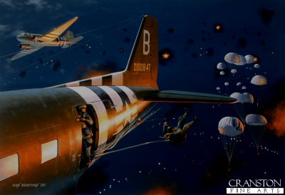 B0478B. Leap of Faith by Ivan Berryman. <p> Dodging heavy flak and anti aircraft fire in the skies above Normandy, Douglas C-47s of the 91st Troop Carrier Squadron, 439th Troop Carrier Group see the 101st Airborne Division away on the night of 5th/6th June 1944 at the start of Operation Overlord.  D-Day had arrived. <b><p>Large Size Limited edition of 10 giclee art prints.  <p> Image size 26 inches x 17 inches (66cm x 43cm)