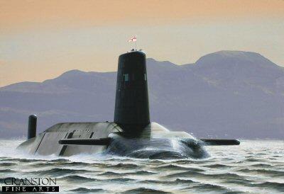 HMS Vanguard in the Gareloch by Ivan Berryman. (GS)