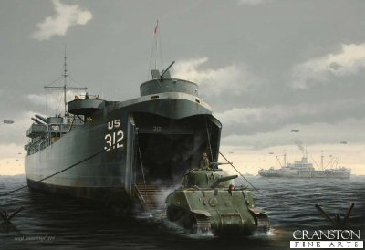 B0494D. LCT 312 by Ivan Berryman.<p> LCT (Landing Craft Tank) 312 is shown unloading a Sherman tank directly onto the beach during the Normandy landings of June 1944. Over 1,000 of these versatile craft were built in the United States, with a small number being constructed in the UK and Canada. <b><p>Artists Special Reserve of 50 prints. <p>Image size 12.5 inches x 8 inches (32cm x 20cm)