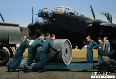B0496. Bombing Up by Ivan Berryman. <p> Watched by keen eyes, an Upkeep bomb arrives on the threshold to be loaded onto the special cradle beneath a Lancaster of 617 Dambusters Squadron on the eve of their perilous journey to the Ruhr Valley on the night of 16th May 1943 when the M&#246;hne and Eder dams were breached under the codename Operation Chastise. <b><p>Signed by Squadron Leader George L. Johnson DFM.<p>Limited edition of 30 giclee prints.  <p> Image size 16 inches x 12 inches (41cm x 31cm)