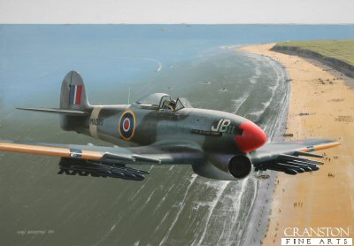 Britains highest scoring Typhoon ace, Wing Commander J R Baldwin sweeps above Utah Beach on a sortie in support of the Allied forces' drive into mainland Europe following D-Day in June 1944. He is shown flying one of his personal aircraft, Typhoon 1b MN935 JBII