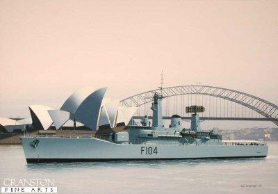 HMS Dido, F104, at Sydney by Ivan Berryman. (GS)