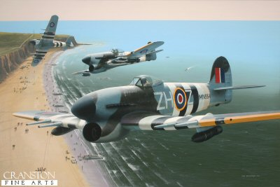 B0522C. Typhoons Over Normandy by Ivan Berryman. <p> Wing Commander J R Baldwin is depicted flying Typhoon MN934 whilst commanding 146 Wing, 84 Group operating from Needs Oar Point in 1944, en route to a bombing raid on 20th June with other Typhoons of 257 Sqn in which both ends of a railway tunnel full of German supplies were successfully sealed. <b><p>Signed limited edition of 1150 prints. <p> Image size 12.5 inches x 8 inches (32cm x 20cm)