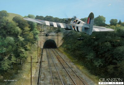 B0524. Bombs Away by Ivan Berryman. <p> On 20th June 1944, Hawker Typhoons of 146 Wing, 84 Group, were detailed to attack a railway tunnel that was being used by the Germans as a supplies store.  Leading the raid in MN934 (ZH-Z), Wing Commander J R Baldwin and his men successfully sealed the tunnel at both ends, thus depriving the retreating German infantry of essential provisions and ammunition. <b><p>Limited edition of 30 giclee prints.  <p> Image size 16 inches x 12 inches (41cm x 31cm)