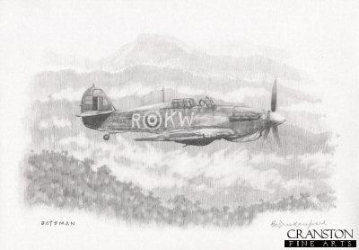No.615 Sqn Hurricane over Burma by Brian Bateman. (P)