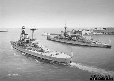 HMS Royal Sovereign and HMS Warspite departing Malta by Ivan Berryman (AP)