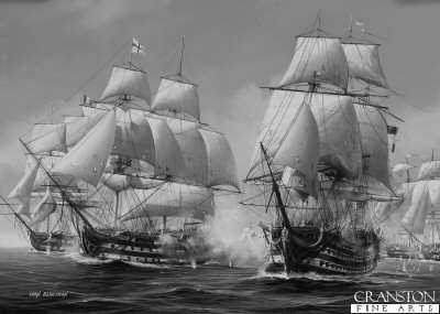 HMS Royal Sovereign at the Battle of Trafalgar by Ivan Berryman.
