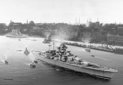 Bismarck Entering Hamburg Harbour by Ivan Berryman