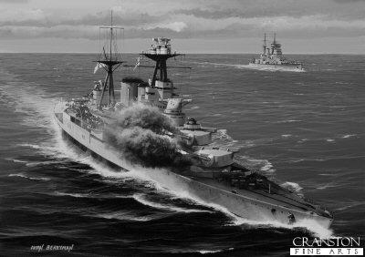 HMS Hood Engages Bismarck by Ivan Berryman.