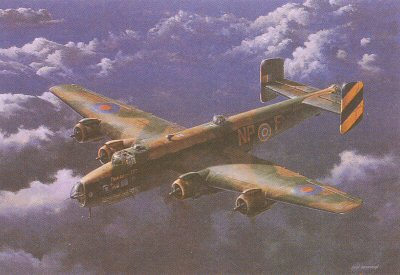 B0012B. Friday the 13th by Ivan Berryman. <p> Sadly, but two examples of the Handly page Halifax exist today - the unrestored W1048 at the RAF Museum at Hendon, and the Yorkshire Air Museums pristine LV907 Friday the 13th, a rebuild from the remains of HR792. In this portrait of one of Bomber Commands oft-forgotten workhorses, the original Friday the 13th is set against a stunning evening cloudscape. <b><p>Signed by Flt Lt Eric Kemp DFC (deceased). <p>Eric Kemp RAF signature series edition of 60 prints from the signed limited edition of 200 prnts. <p>Image size 23 inches x 14 inches (58cm x 36cm)
