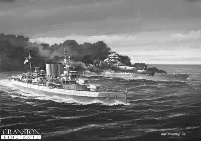 HMS Dorsetshire (The End of the Bismarck) by Ivan Berryman. (P)